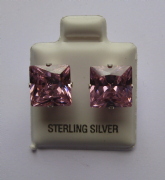 9mm square Princess cut Pink Cubic Zirconia Sterling silver Stud earrings